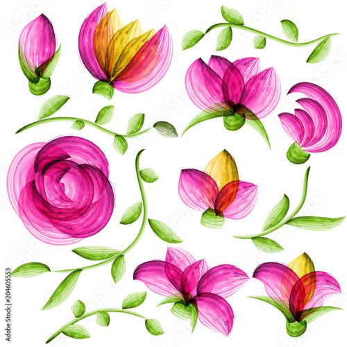 Fridge magnet Watercolor vector floral elements