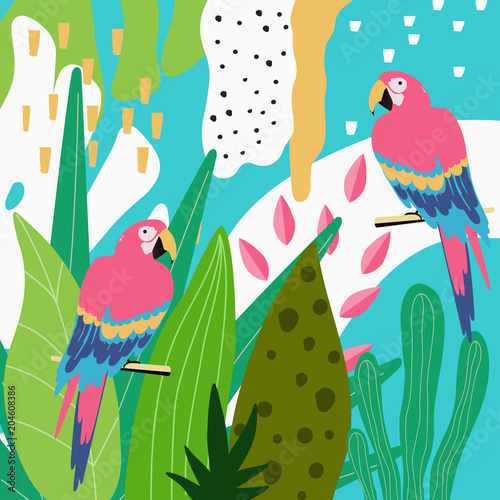 Tropical jungle leaves background with parrots. Summer vector illustration design. Colorful parrots background template. Exotic birds background poster. Tropical leaves art print - 204608386