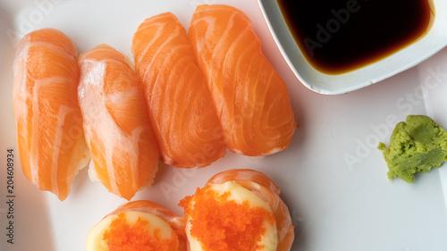 Plexiglas Sushi bar Fresh Salmon Sushi