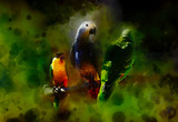 Colored parrots and softly blurred watercolor background.