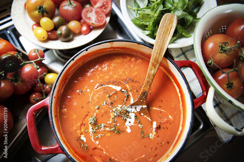 Creamy tomato sauce food photography recipe idea - 204613759