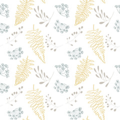 Vector botanical seamless pattern with  stylized berries, fern leaves and dill flowers. © dinadankersdesign