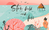 Hand drawn vector abstract cartoon summer time graphic illustrations art template background with ocean beach landscape,pink sunset and beauty girl mermaid with Stay Wild and Free typography quote - 204618159