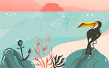Hand drawn vector abstract cartoon summer time graphic illustrations art template banner background with ocean beach landscape,pink sunset view,beauty toucan and with copy space place for your design - 204618179