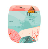 Hand drawn vector abstract cartoon summer time graphic illustrations template background logo design with ocean beach landscape,pink sunset and beach cabin house with copy space place for your design - 204618338