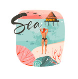 Hand drawn vector abstract cartoon summer time graphic illustrations template background logo design with ocean beach landscape,beach cabin house,pink sunset and beauty girl with Sea typography text - 204618354