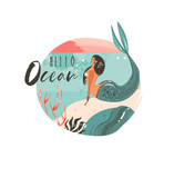 Hand drawn vector abstract cartoon summer time graphic illustrations art template background logo design with ocean beach landscape,sunset and beauty mermaid girl with Hello Ocean typography quote - 204618373