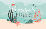 Hand drawn vector abstract cartoon summer time graphic illustrations template background with ocean bottom,corals reefs,seaweed and Underwater Paradise typography quote isolated on blue water waves - 204619343