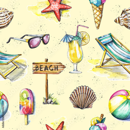 Cotton fabric Seamless pattern with ice cream, sunbed, ball, sunglasses, cocktail, seashells, pointer and starfish on yellow background. Watercolor hand drawn illustration
