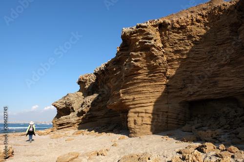 Scenic hike on Palmachim beach, Mediterranean seaside in Israel.
