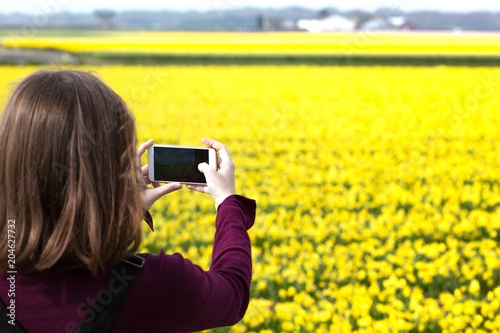 Plexiglas Geel Girl takes pictures of a yellow daffodils on a smartphone