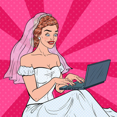 Pop Art Bride with Laptop. Young Happy Woman in Wedding Dress Shopping Online. Vector illustration