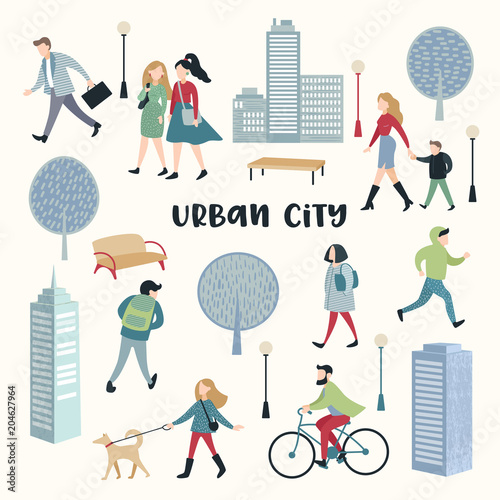 People Walking on the Street. Urban City Architecture. Characters Set with Family, Children, Runner and Bicycle Rider. Vector illustration