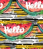Hand drawn vector striped abstract textured pattern with watermelon ang Hello lettering.Summer backgroung,vector background,texture paper,texture background,summer pattern,watermelon slice - 204630531