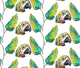 Tropical jungle seamless pattern with parrot bird and palm leaf on white background. - 204633157