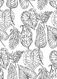 Tropical jungle seamless vector pattern with palm leafs on white background - 204633184