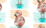 Hand drawn vector seamless summer textured pattern of flamingo,who stand in blue ocean waves. - 204633363
