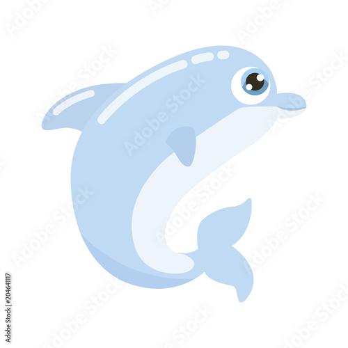 Fototapeta Cute dolphin vector illustration.