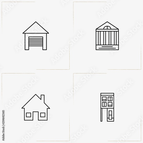 Buildings line icon set with building, garage and house