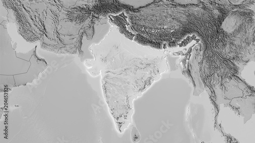 India, grayscale elevation - light glow