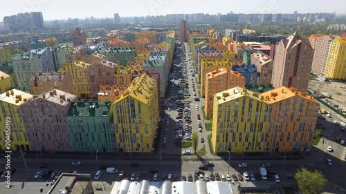 Aluminium Kiev district of colorful houses in Kiev, aerial view