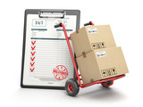 Delivery service concept. Hand truck with parcel carton cardboard boxes and  clipboard with receipt form isolated on white. - 204661338