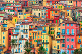 Colorful houses in old part of Menton, French Riviera, France - 204665331