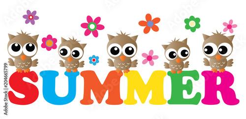 Fotobehang Uilen cartoon summer header with cute owls
