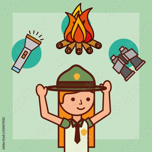 time to travel girl explorer campfire binoculars and lantern vector illustration