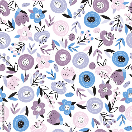 Bright floral seamless pattern - 204678172