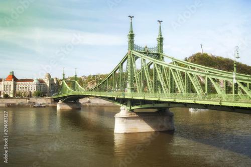 Canvas Boedapest View of Budapest Liberty Bridge