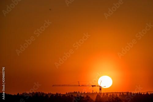 Fotobehang Baksteen Sonnenuntergang