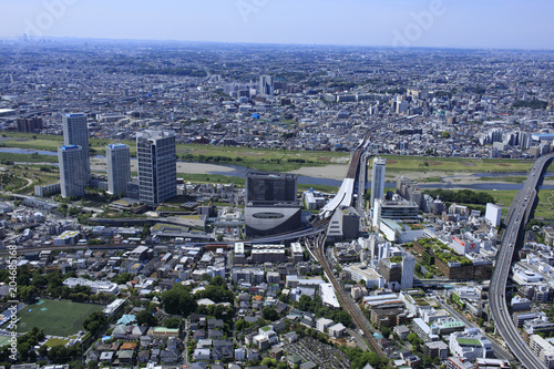 Plexiglas Tokio 二子玉川周辺/郊外の住宅地航空写真