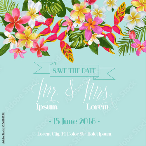 Wedding Invitation Template with Plumeria Flowers. Tropical Floral Save the Date Card. Exotic Flower Romantic Design for Greeting Postcard, Birthday, Anniversary. Vector illustration - 204686954