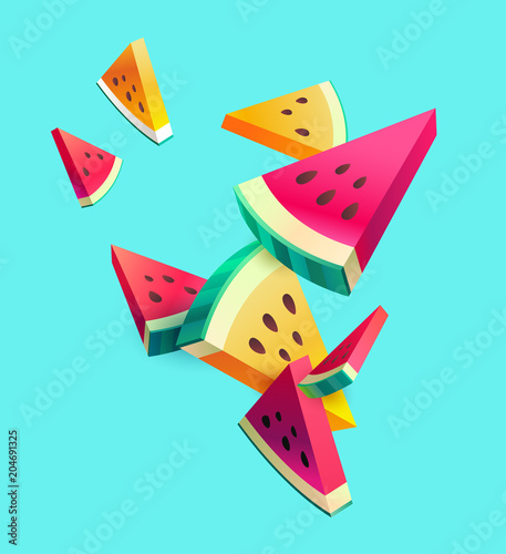 Fresh sliced watermelon fruit on bright background - 204691325