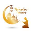 Ramadan kareem greeting card with mosque and prayer, vector