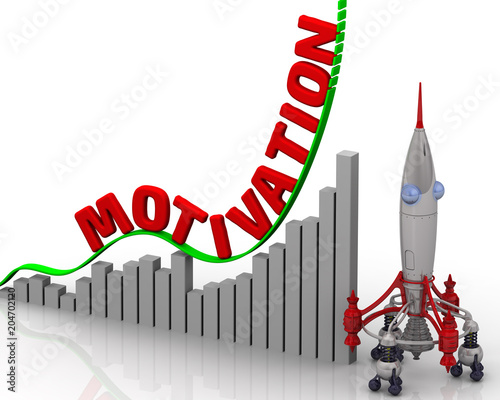Fototapeta The graph of motivation growth. Graph of rapid growth with word MOTIVATION and rocket. 3D Illustration