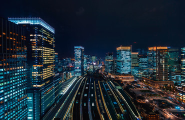 Aerial view of Tokyo Station at night