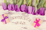 Vintage photo, Purple tulips and gifts for mother's day