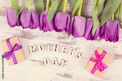 Fototapeta Vintage photo, Purple tulips and gifts for mother's day