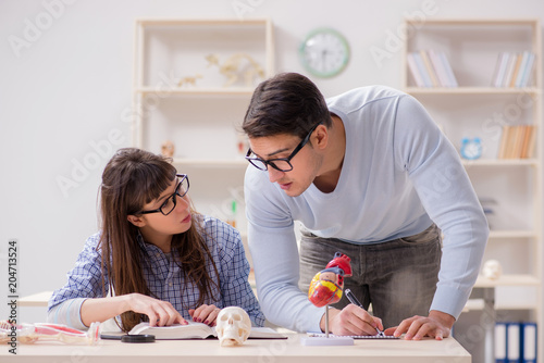 Two medical students studying in classroom