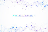 Geometric graphic background artificial intelligence. Turbulence flow trail. Futuristic science and technology background. Big data visualization complex with compounds. Cybernetics illustration - 204713939