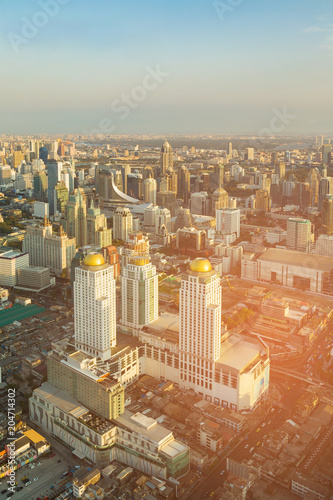 Canvas Bangkok Bangkok city central business downtown aerial view, Thailand cityscape background