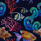 Classical embroidery tropical sea, wave, fishes, corals, shells seamless fashion pattern. Embroidery sea life, sea shells, corals, tropical fishes - 204718540