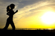 Leinwanddruck Bild - silhouette of a woman jogging on nature at sunset, sports female profile, concept of sport, leisure and healthcare