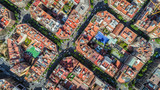 Barcelona aerial straight down camera , Eixample  residential streets and buildings, famous urban grid, Spain. - 204720509