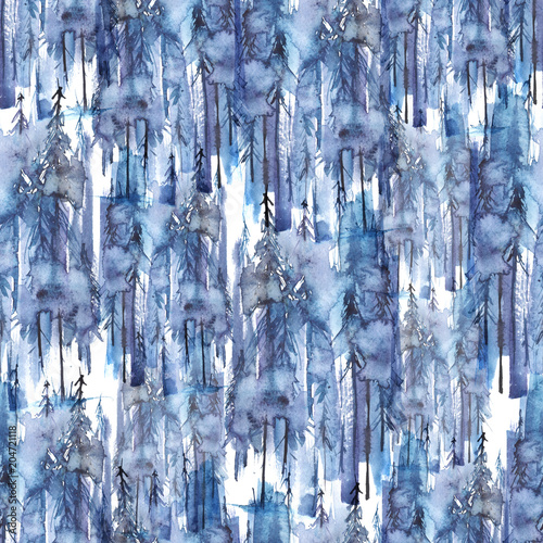 Seamless watercolor pattern, background. Blue spruce, pine, cedar, larch, abstract forest, silhouette of trees. Foggy forest  - 204721118