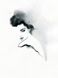 beautiful woman. fashion illustration. melancholy.  watercolor illustration - 204723392