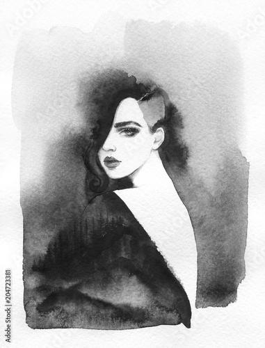 melancholy. landscape. watercolor illustration - 204723381