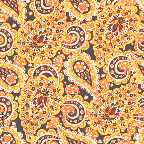 Cotton fabric Paisley Floral oriental ethnic Pattern. Seamless Arabic Ornament. Ornamental motifs of the Indian fabric patterns.